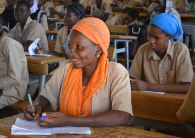 A high school girl during a sensitization training.