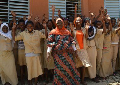 Girls from Lycee Communal de Fada.