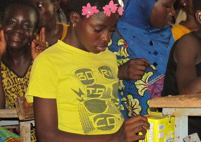 Pads are expensive in Burkina; this was the first time most girls received any.