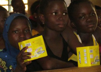Girls received sanitary pads during training sessions.
