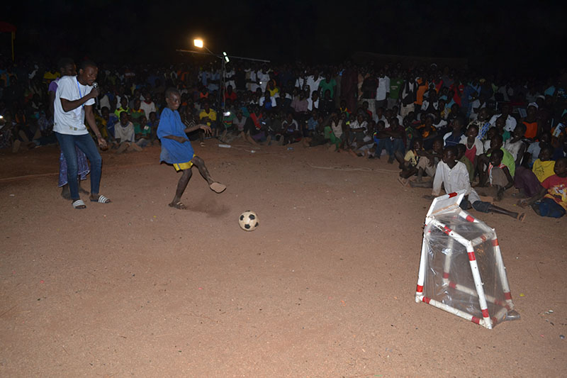 Getting the ball in the net equated with good aim in the pit latrine!